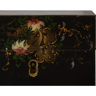 Antique Georgian Tea Caddy in Tole with Painted Decoration