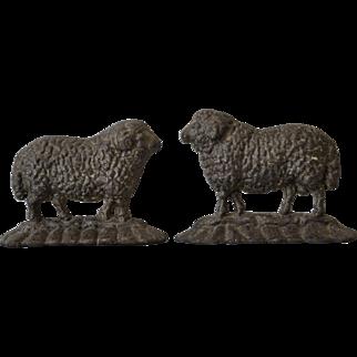 Antique Sheep Doorstops Ram and Ewe