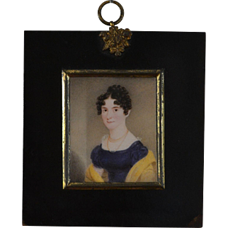 Georgian Miniature Portrait of a Young Lady