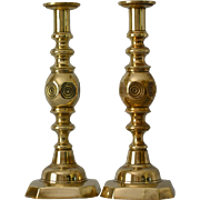 19thC Brass Bull's-eye Candlesticks