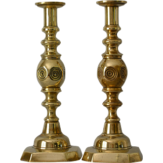 19thC Brass Bull's-eye Candlesticks