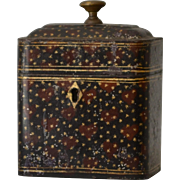 Antique Toleware Tea Caddy from Georgian Times