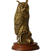 Vintage Brass Owl Sculpture