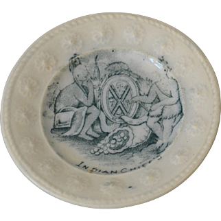 Antique Staffordshire Indian Chief's Children's Plate