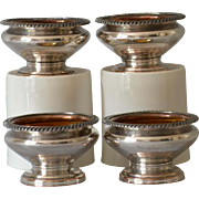 Antique Old Sheffield Plate Fused Silver Salt Cellars