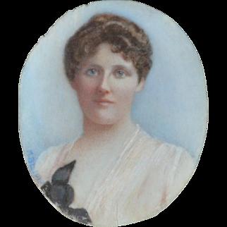 Antique Miniature Portrait of an Edwardian Lady 1918