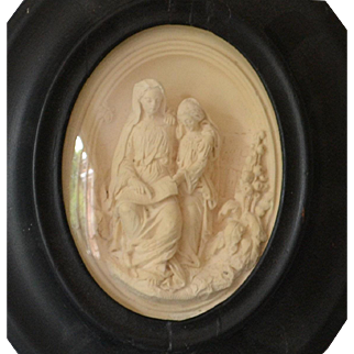 Antique Biblical Carving of St Anne and Mary