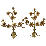 Antique French Ormolu Candelabra with Lily Motif