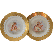 Redon Limoges Cupid Cabinet Plates, French and Handpainted