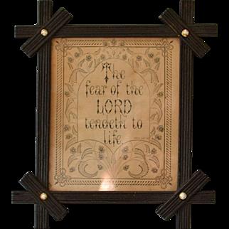 Antique Biblical Proverb in Victorian Frame