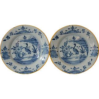 Antique 18thC Delft Faience Plates in Blue and White