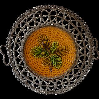 Antique Majolica Wire ware Wire work Basket