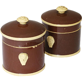 Antique French Sarreguemines Covered Jars