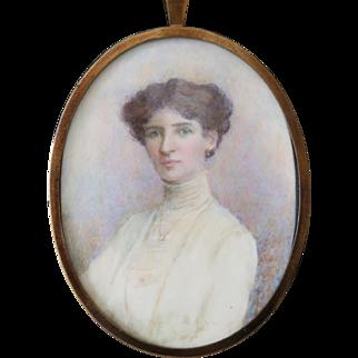 Antique Miniature Portrait of an Edwardian Lady