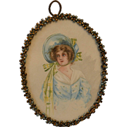 Antique Portrait Watercolor of an 1830 Young Woman