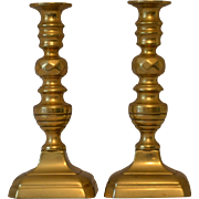 Antique Brass Candlesticks from Victorian England