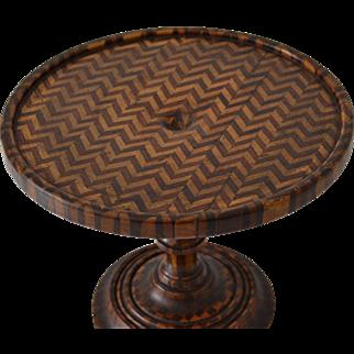Antique Miniature Parquetry Table Stand Pedestal