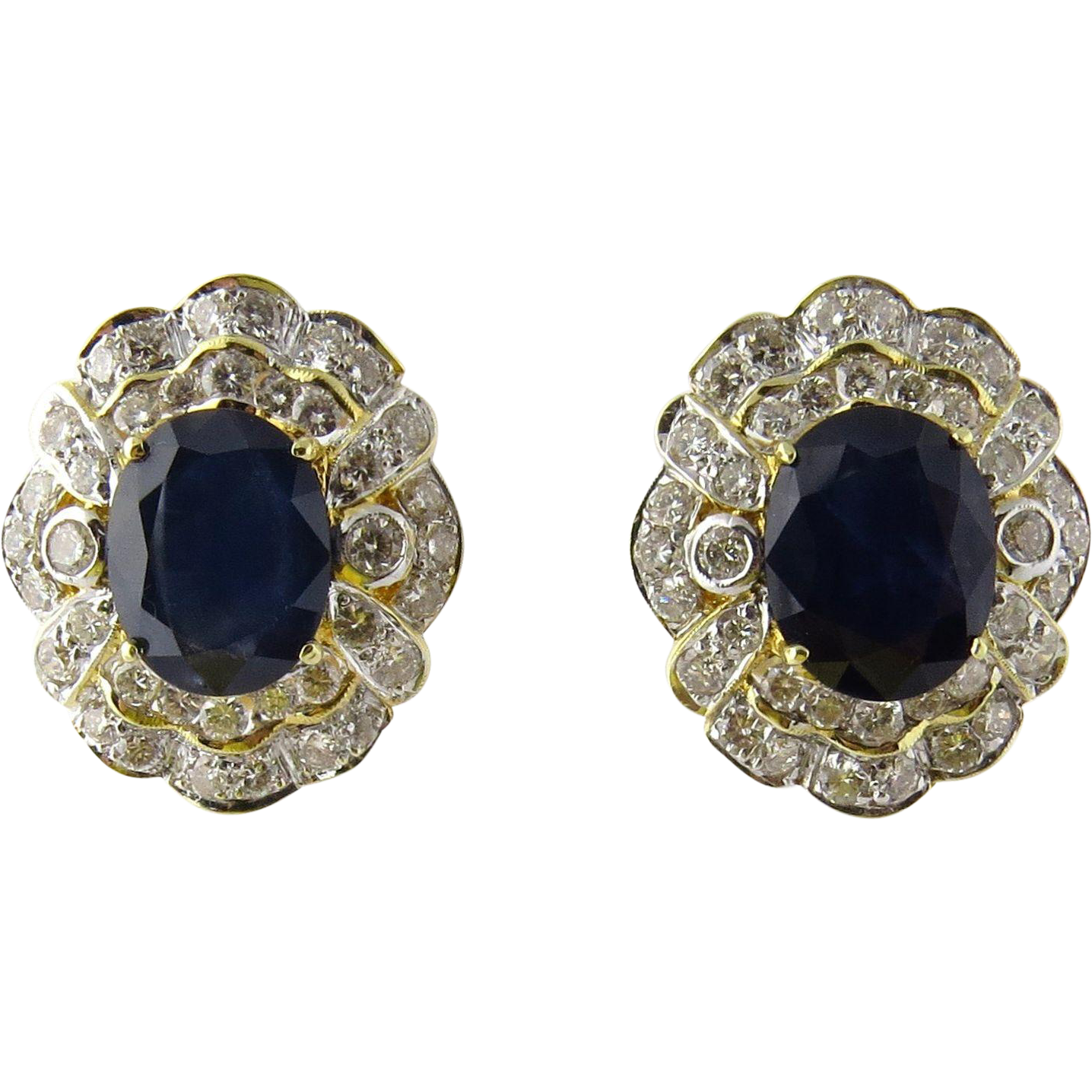 vintage 18k yellow gold blue sapphire and earrings