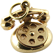 Vintage 14 Karat Yellow Gold Rotary Phone Charm