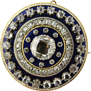 Antique 14K Yellow Gold Georgian Rose Cut Diamonds and Blue Enamel Brooch Pendant Circular approx. 3.75 cts