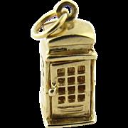 Vintage 14 Karat Yellow Gold London Phone Booth Charm