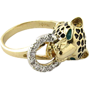 Vintage 14K Yellow Gold and Diamond Jaguar Ring Size 6