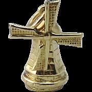 Vintage 14K Yellow Gold 3D Windmill Charm