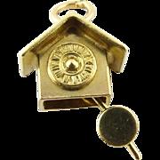 Vintage 14K 3D Yellow Gold Cuckoo Clock Moving Pendulum Charm