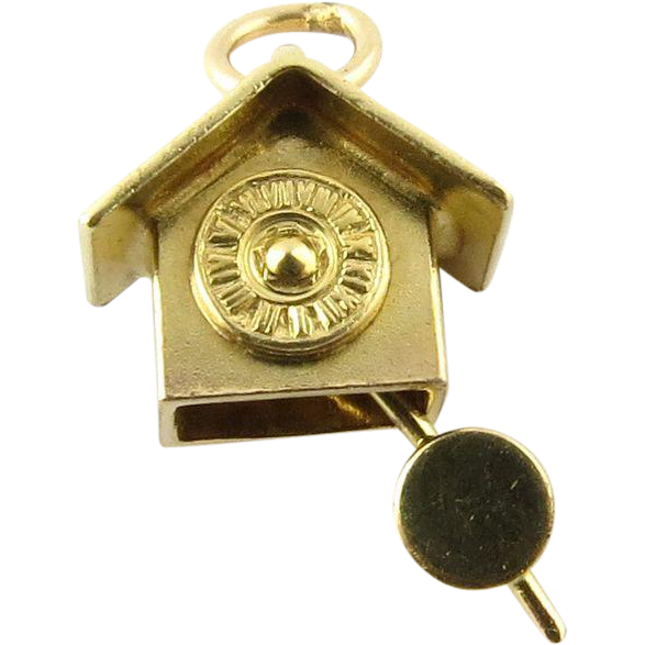 Vintage 14k 3d yellow gold cuckoo clock moving pendulum charm from ctgoldcustomers on ruby lane - Cuckoo clock pendulum ...