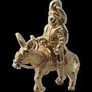 Vintage 18K Yellow Gold 3D Don Quixote Charm