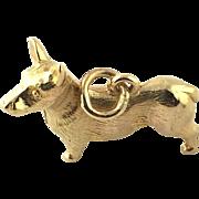 Vintage 9 Karat Yellow Gold Corgi Charm