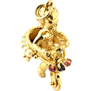 Vintage 14 Karat Yellow Gold Toddler on Tricycle Charm