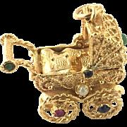 Vintage 14 Karat Yellow Gold Baby in Pram Charm