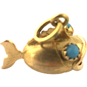 Vintage 18 Karat Yellow Gold Blowfish Charm