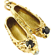 Vintage 14 Karat Yellow Gold Dance Slippers Charm