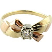 Vintage Jabel 14K Yellow and Rose Gold Diamond Bow Ring Size 6.5