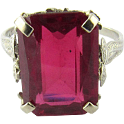 Vintage 14 Karat Yellow Gold Synthetic Red Ruby Ring Size 8