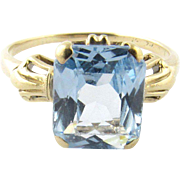 Vintage 14 Karat Yellow Gold Synthetic Blue Topaz Ring Size 6.5