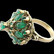 Vintage 14 Karat Yellow Gold Green Onyx Thai Princess Harem Ring Size 4.75