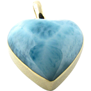 Vintage 14 Karat Yellow Gold and Cabochon Larimar Heart Pendant