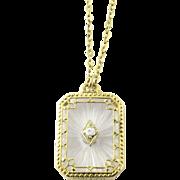 Vintage Marathon 10K Yellow Gold Camphor Glass Filigree Pendant Necklace