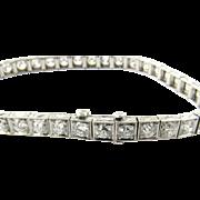 Vintage Platinum European Cut Diamond Tennis Bracelet 6 carats