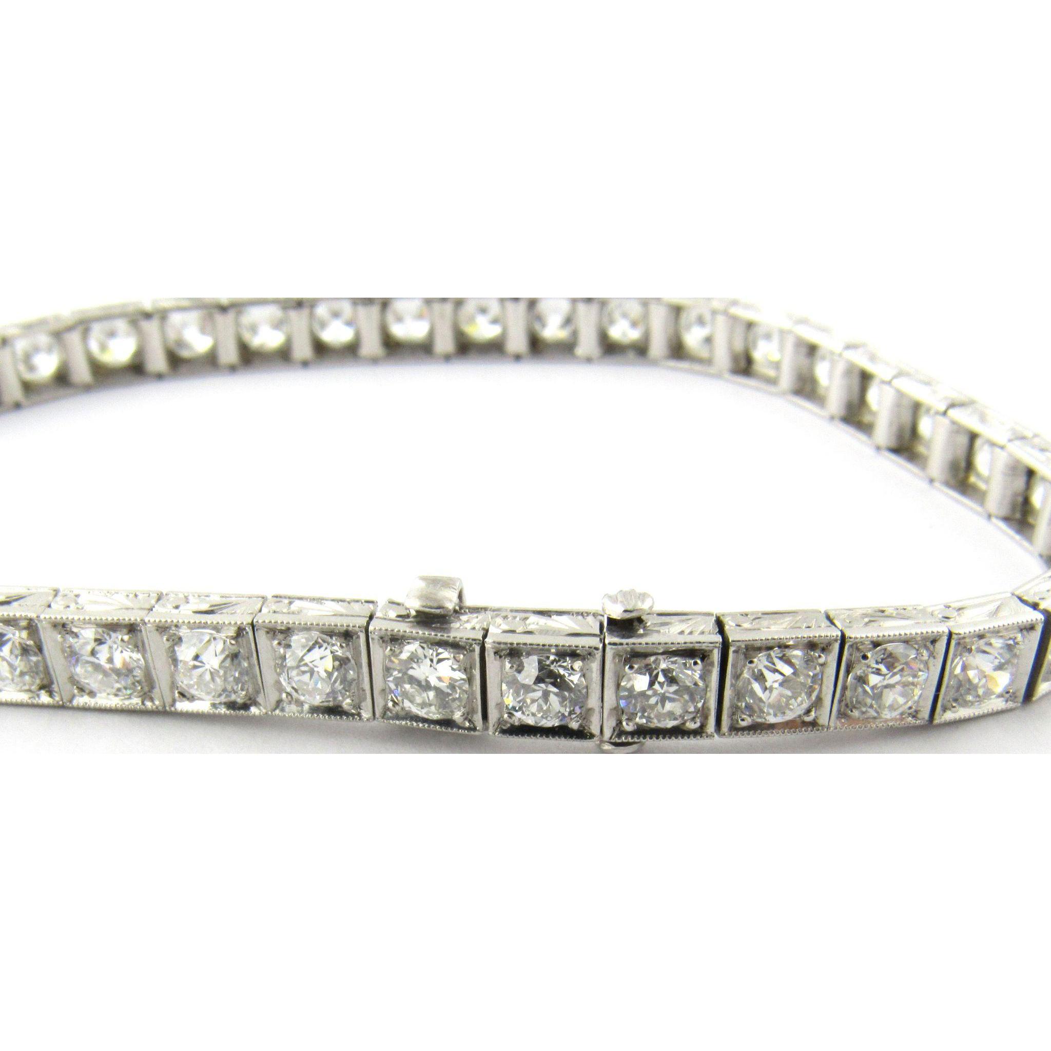 Vintage Platinum European Cut Diamond Tennis Bracelet 6 Carats Gold And Silver Brokers Ruby Lane