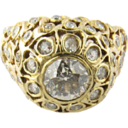 Antique 14K Yellow Gold and European Cut Diamonds Floral Dome Ring Size 5
