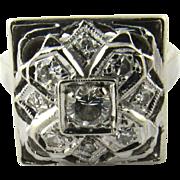 Vintage 14K White Gold Diamond Framed Floral Ring Size 5.25