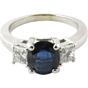 Vintage 18K White Gold Sapphire and Diamond Ring Size 6