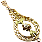 Vintage 14K Yellow Gold Diamond Filagree Pendant