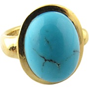 Vintage 19.2 Karat Yellow Gold Turquoise Ladies Ring Size 5.25