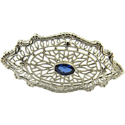 Vintage 14K White Gold and Genuine Sapphire Brooch