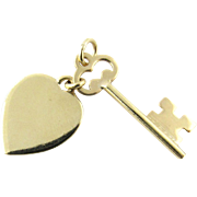 Vintage 14 Karat Yellow Gold Heart and Key Charm